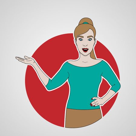 vector illustration of girl shows and smiling to the left side on a background of red circle Ilustração
