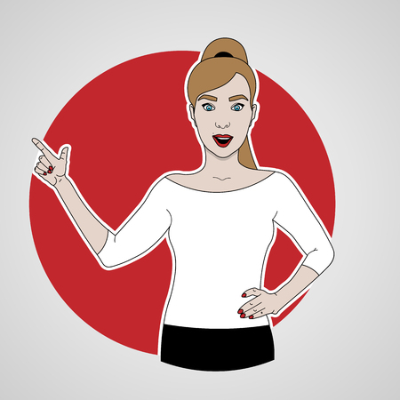 vector illustration of girl in full-length points with her finger and smiling in white shirt to the left side on a background of red circle