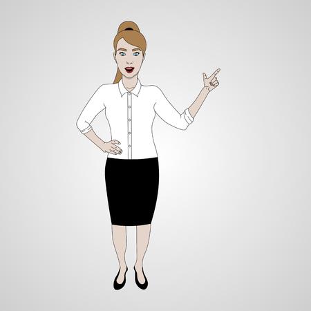 vector illustration of girl in full-length points with her finger and smiling in shirt and skirt Ilustração