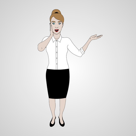 vector illustration of girl in full-length is surprised and shows and smiling in shirt and skirt, touches the face Ilustração