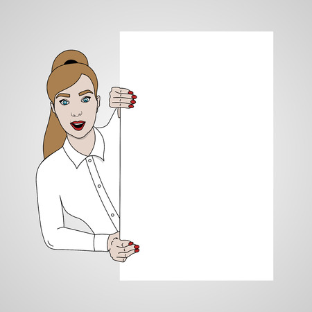 vector illustration of girl looks to the left from the banner and smiling in white shirt