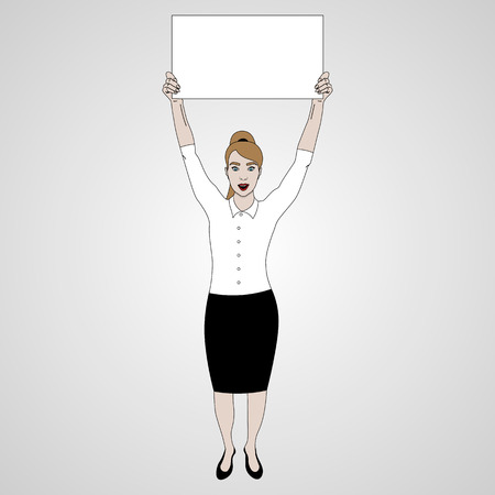 vector illustration of girl in full-length holds a banner on top of her headand smiling in white shirt, keeps banner