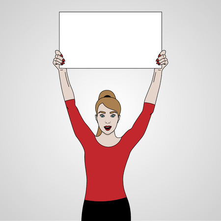 vector illustration of girl holds a banner on top of her headand smiling in red shirt, keeps banner