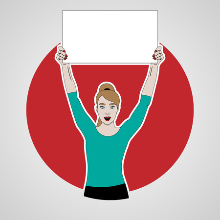 vector illustration of girl holds a banner on top of her headand smiling on a background of red circle, keeps banner