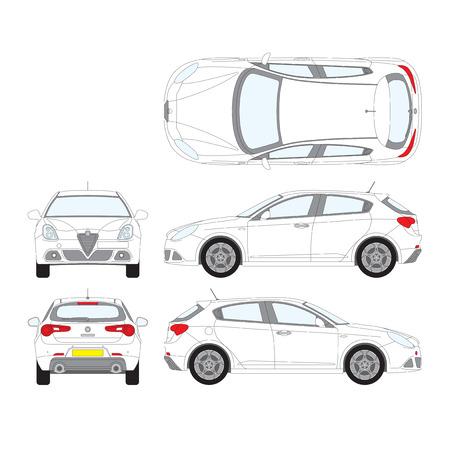 Digital Vector illustration of passenger car alfa romeo, side, front and top view Ilustração