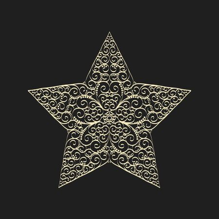 Vector vintage drawing star template with curled pattern inside. Elegant vector design for decorative panels, greeting cards, stencil, gift box, paper, wood, metal cutting. Imagens - 134720423