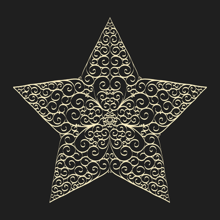 Vector vintage drawing star template with curled pattern inside. Elegant vector design for decorative panels, greeting cards, stencil, gift box, paper, wood, metal cutting. Ilustração