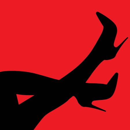 vector digital illustration female feet and heels on a red background