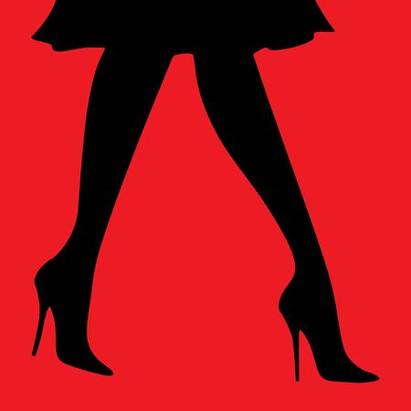 vector digital illustration female legs in heels in a skirt on a red background