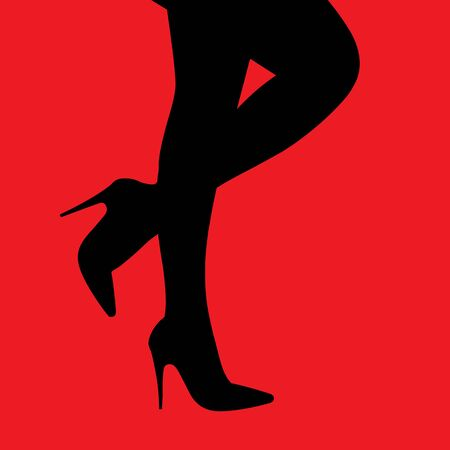 vector digital illustration female legs in heels on a red background