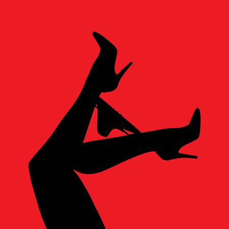 vector digital illustration female legs in heels with panties on a red background