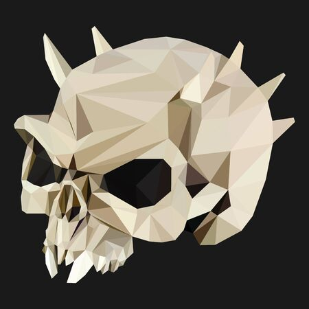 digital vector triangular polygonal skull with spikes Ilustração
