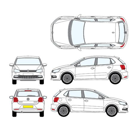 white passenger car top view from the front and rear side Stok Fotoğraf - 133663638