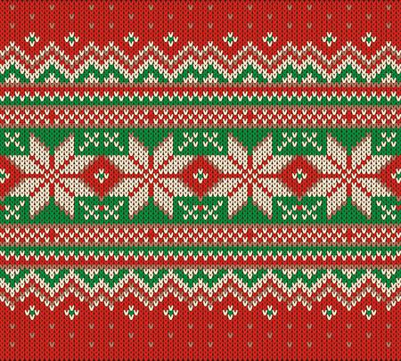 Scandinavian style seamless knitted pattern. Colors: blue, white, pink, violet Ilustração