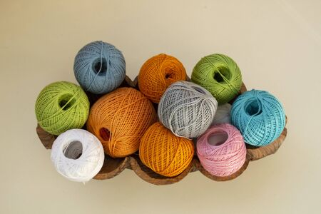 Colorful balls of thread for knitting Foto de archivo