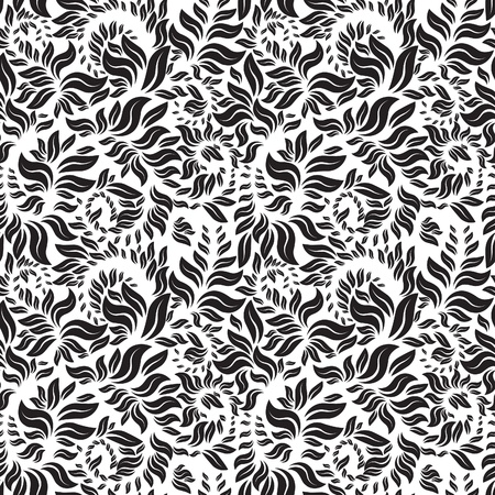 black and white seamless floral pattern Stock Vector - 10380594