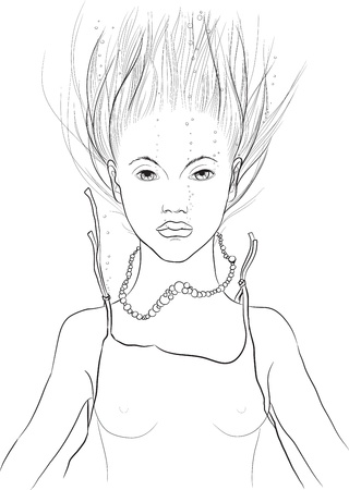Hand-drawn sketch of young woman under water Vector