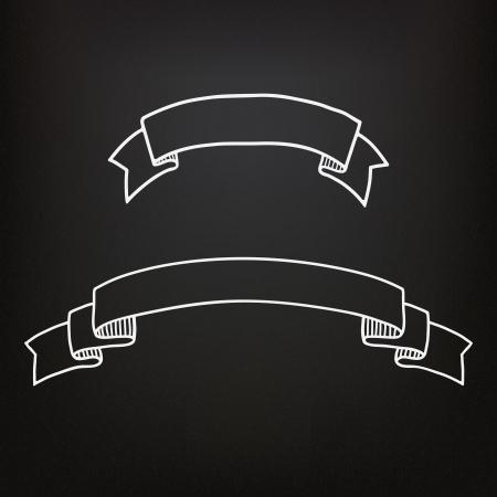 Hand drawn ribbons on the blackboard
