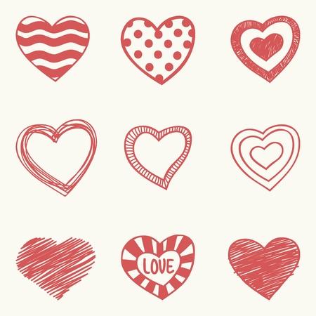heart outline: set of nine hand drawn hearts