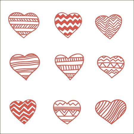 dearness: set of nine hand drawn hearts