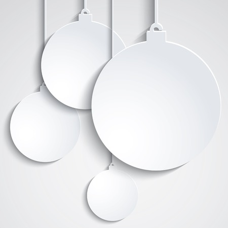 Background with white paper Chrismas balls Illustration