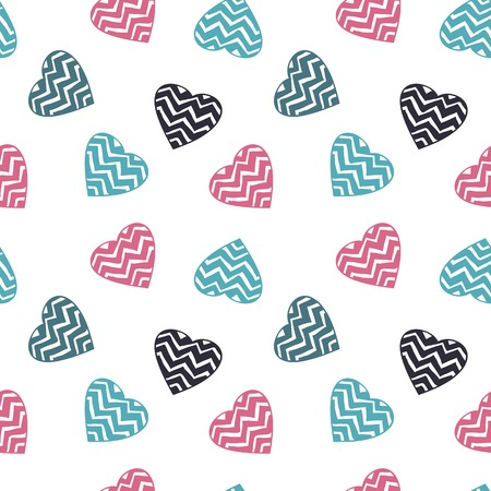 hand drawn doodle seamless pattern of hearts Illustration