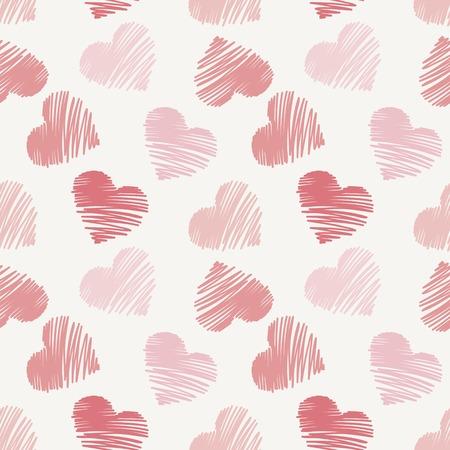 hand drawn doodle seamless pattern of hearts Ilustração