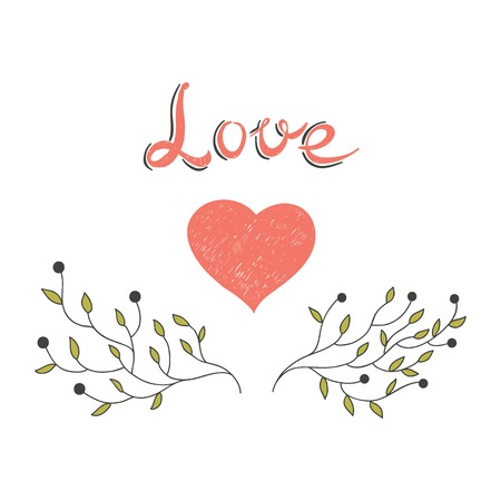 hand drawn heart with blooming branches Illustration