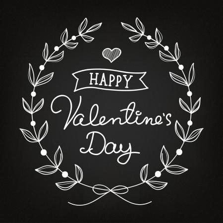 chalk art Valentines Day card Vector