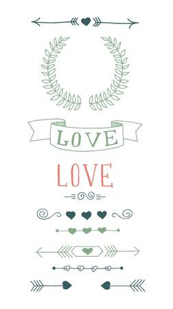 Conjunto de elementos de diseño dibujado a mano para el Día de San Valentín Ilustración de vector