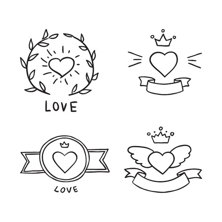 Set of hand drawn design elements