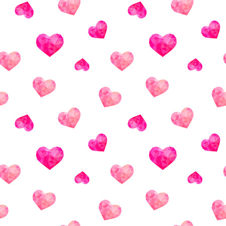 Seamless pattern of polygonal hearts Vector