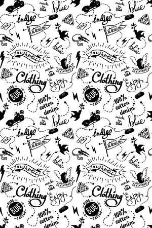 old school denim biker pattern, tatooo style Ilustração