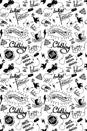 old school denim biker pattern, tatooo style Illustration