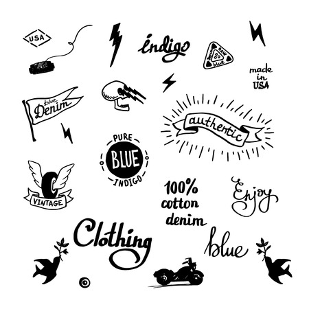 set of old school denim biker symbols, tatooo style
