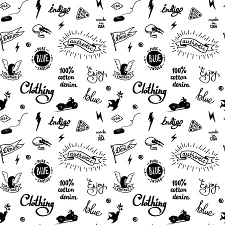 old school denim biker pattern, tatooo style Vector