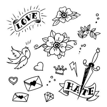 sword and heart: set of old school tattos elements, vector Illustration
