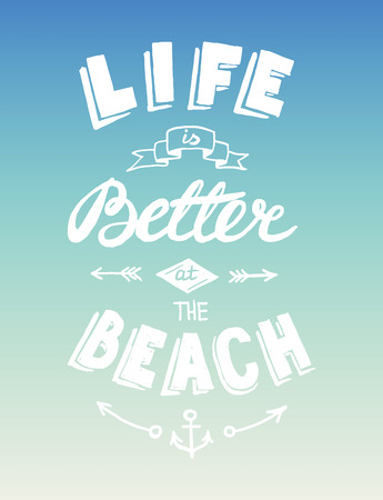 quotation: Hand drawn graphical summer quotation, vector illustration