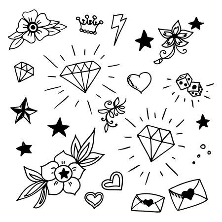 tatouage fleur: ensemble de vieux �l�ments de Tattos scolaires, vecteur