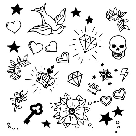 coeur en diamant: ensemble de vieux éléments de Tattos scolaires, vecteur