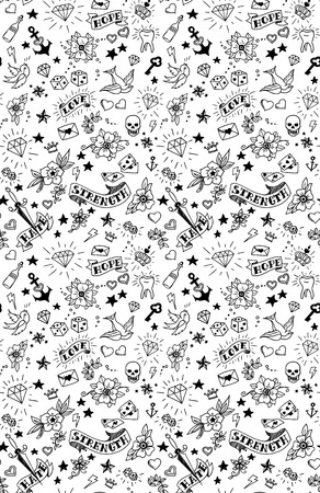 old school: old school tattoos elements pattern, vector illustration