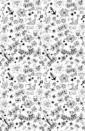 old school tattoos elements pattern, vector illustration