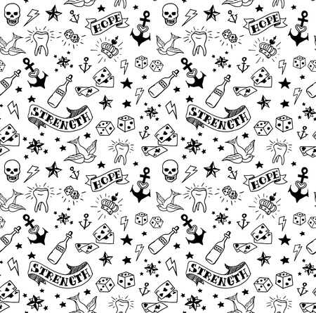 skull and crown: old school tattoos elements pattern, vector illustration