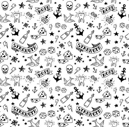 crown tattoo: old school tattoos elements pattern, vector illustration