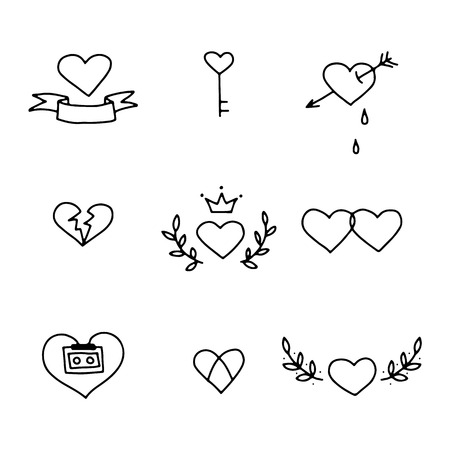 heart and crown: Set of nine hand drawn hearts in tattoo style