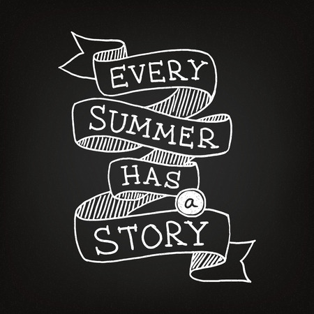 Hand drawn summer poster on the blackboard Vector