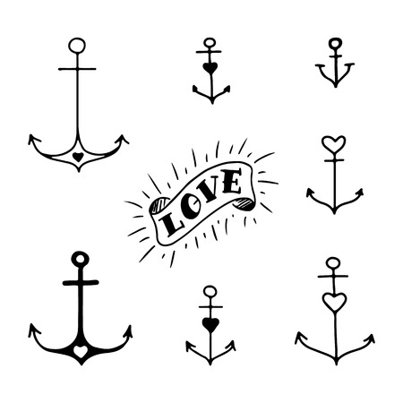 Set of seven hand drawn anchors in tattoo style Illustration