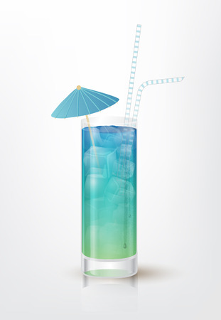 ice tea: Realistic illustration of the Blue Long Island Ice Tea cocktail