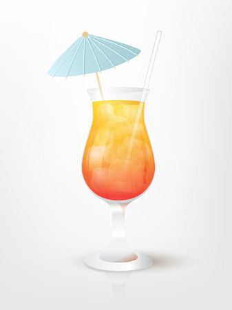 malibu: Realistic illustration of the Malibu Sunset  cocktail Illustration