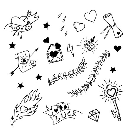 Set of hand drawn elements in tattoo style illustration Vector